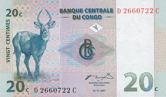 P 83 Congo Dem. Rep. 20 Centimes Year 1997